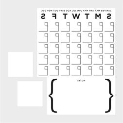 DRY ERASE Monthly CALENDAR GiaNT Wall Decals NOTES Room Deco