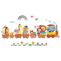 Decowall DS-8024 Animal Trains Kids Wall Stickers Wall Decal