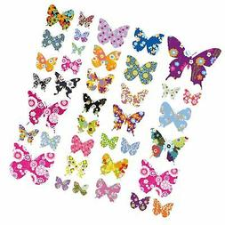 Decowall DW-1201 38 Colourful Flower Butterflies Kids Wall D