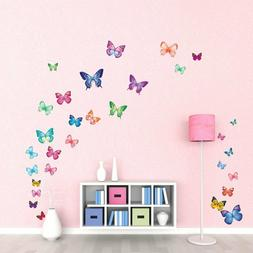 DECOWALL DW-1302 30 Vibrant Butterflies Kids Wall Stickers W