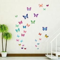 Decowall DW-1302 30 Vibrant Butterflies Wall Stickers Tattoo