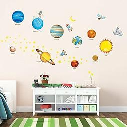 Decowall DW 1307 Planets in Space Peel Stick Nursery Kids Wa