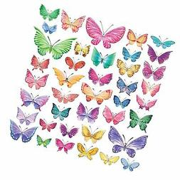 Decowall DW-1602 Watercolour Butterflies Kids Wall Decals Wa