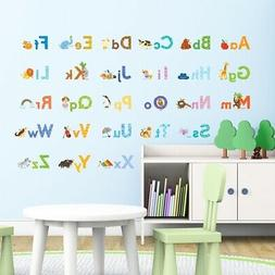 Decowall DW-1608S Watercolour Animal Alphabet Wall Stickers