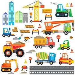 Decowall DW-1612 Construction Site Kids Wall Decals Wall Sti
