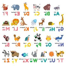 Decowall DW-1614 Colourful Animal Alphabet ABC Kids Wall Dec