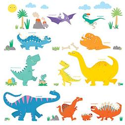 Decowall DW-1703 Colourful Dinosaur Kids Wall Decals Wall St