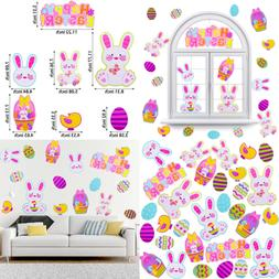 Easter Bunny Wall Decals Egg Stickers Removable Window Cling