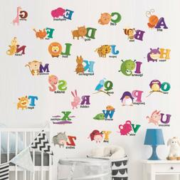 Educate Kids Baby Cartoon Animals ABC Alphabet Wall Sticker