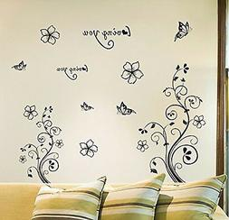 TOTOMO Elegant Flower Vine Wall Decals Stickers for Living R