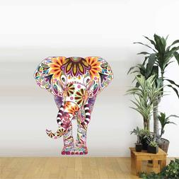 Elephant Wall Sticker Beauty Floral Pattern Vinyl Decals For
