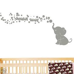 Elephant with Bubbles and Custom Name Baby Wall Decal Viny N