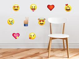 Emoji Emoticon Fabric Wall Decals - Set of 9 Phone Text Face