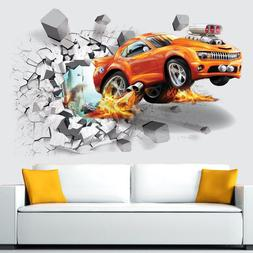 EP_ 3D Self-adhesive Car Break Through the Removable Wall St