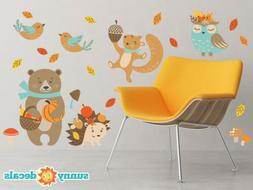 Fall Animals Fabric Wall Decals - Set of 6 Animals - Bear, H