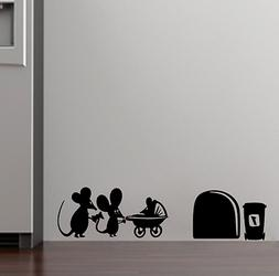 family baby mouse hole wall stickers