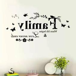 family butterfly flower art vinyl quote wall