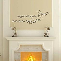 Family Love Never Ends Wall Decal, Home Decor Sticker, 30 W