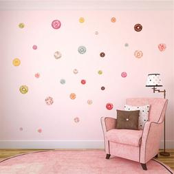 Fancy Girls Room Bedroom Wall Art Decals Rainbow Color Donut
