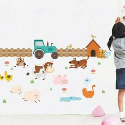 Farm Animals Fence Cattle Dog Wall Stickers For Kids Rooms H