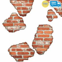 Faux Brick Wall Decals, Breakaway Repositionable Peel and St