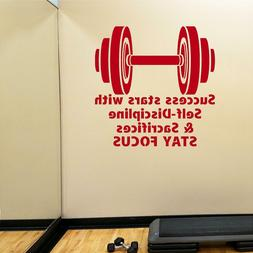 Fitness Wall Decals. Gym. Exercise: Success, Self-Discipline