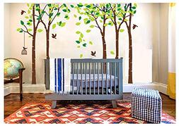 LUCKKYY Large Five Tree Wall Decal Tree Wall Sticker Removab
