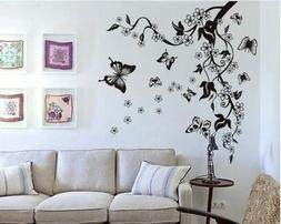 Floral Butterfly Flower Vine Wall Stickers DIY Art Decor Mur