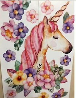 FLORAL FAIRYTALE UNICORN wall stickers 12 big decals room de