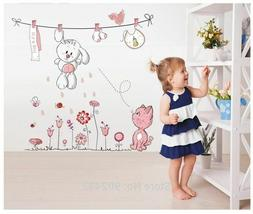 Floral Stickers Wall For Babies Girl Kids Living Room Home D
