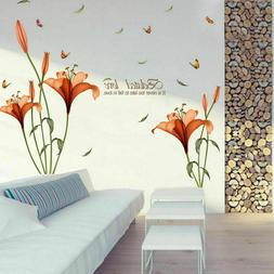 Floral Wall Stickers Art Lily Flower Room Removable Decals A