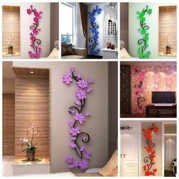 Flower Decal 3D Mirror Wall Sticker DIY Removable Art Mural