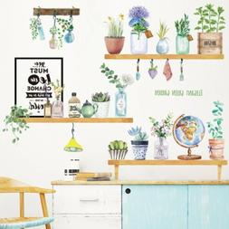 Flower Potted Plant Home Living Room Decor DIY Vinyl Wall St