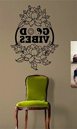 Beautiful Flowers and Good Vibes Design Wall Decal Sticker M