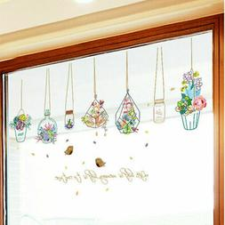 flowers potted plant wall stickers removable home