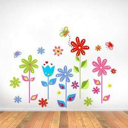 Flowers Story Vinyl Wall Stickers For Kids Rooms Home Decor