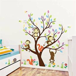 BIBITIME Forest Animal Wall Sticker 4 Monkeys Playing on the
