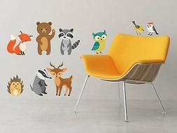 Forest Animals Fabric Wall Decals, Set of 9 Animals includin