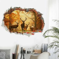 Forest Deer Wall Stickers 3D Removable Wall Decals Mural Liv