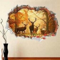 Forest Deer Wall Stickers 3D Wall Decals Poster Mural Living