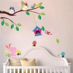 Forest Owl Tree Bird Wall Stickers Decals Mural for Home Wal