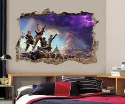 Fortnite Decal 3D Smashed Wall Sticker Home Decor Art Mural
