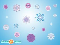 Frozen Inspired Snowflake Fabric Wall Decals - Set of 18