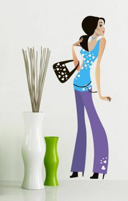 Full Color Girl Woman Teen Wall Decal Sticker for living roo