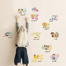 funny animal number alphabet wall sticker kids room home dec