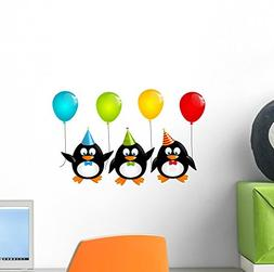 Wallmonkeys Funny Penguins with Color Wall Decal Peel and St