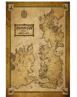 Game of Thrones Poster Westeros Map on Art Silk Fabric Wall