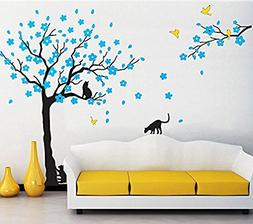 "Amaonm 67""x98"" Giant Removable Vinyl Black Tree + Blue Flowe"