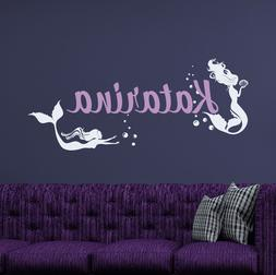 Girl Name Wall Decal Mermaid Vinyl Stickers For Girl Bedroom