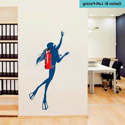 Girl Scuba Diver wall decal for Fire Extinguishers - Fun Vin